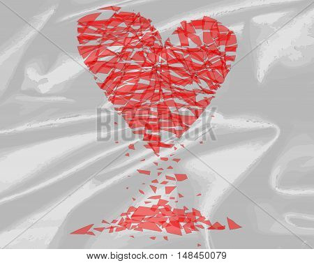 A shattered heart over a silk background