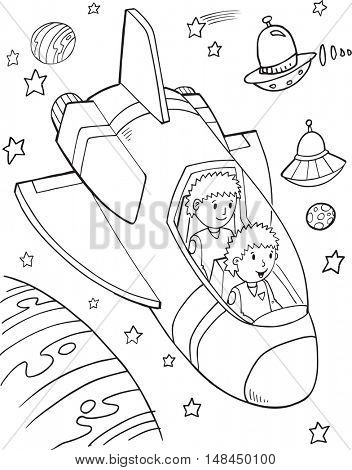 Doodle Spaceship Vector Illustration Art