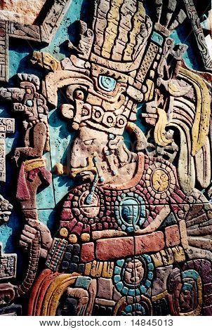 Maya Indian High Priest Relief Sculpture