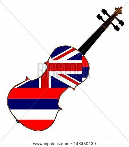 A typical violin with Hawaii state flag isolated over a white background