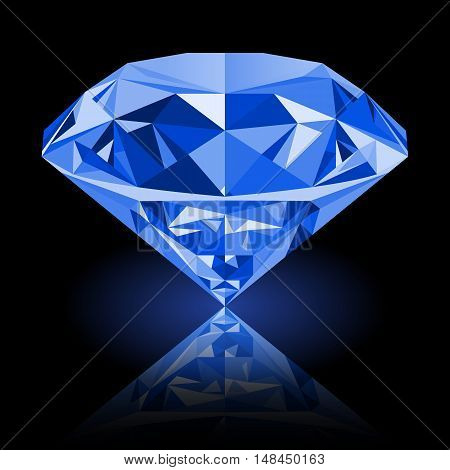 Realistic shining blue amethyst jewel with reflection and blue glow isolated on black background. Colorful gemstone that can be used as part of logo icon web decor or other design.