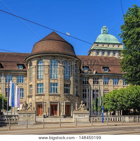 Zurich, Switzerland - 3 June, 2015: entrance to the University of Zurich view from Ramistrasse street. The University of Zurich (German: Universitat Zurich or UZH) is the largest university in Switzerland, founded in 1833.