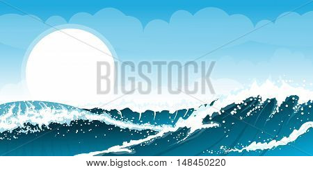 Stormy sea background with waves and clouds