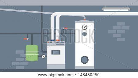 Boiler in the home basement modern energy saving heating system