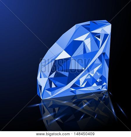 Realistic shining blue amethyst jewel with reflection blue glow and light sparks on gradient background. Colorful gemstone that can be used as part of logo icon web decor or other design.