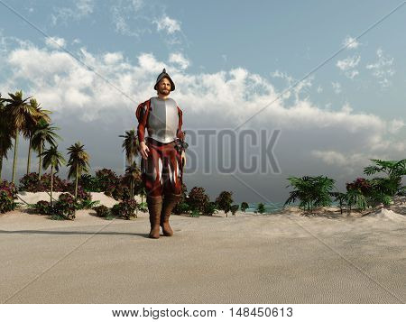3d illustration of a European conqueror in America