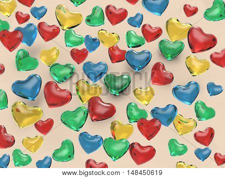3d illustration of glass hearts of various colors