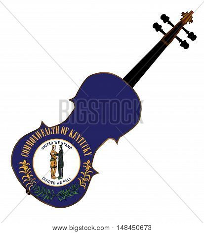 A typical violin with Kentucky state flag isolated over a white background