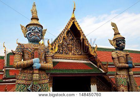 Ancient statues at Wat Phra Kaew in Bangkok Thailand
