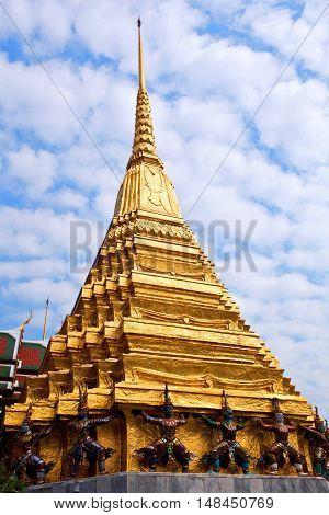 Ancient pagopda (17th Century) at Wat Phra Kaew in Bangkok Thailand