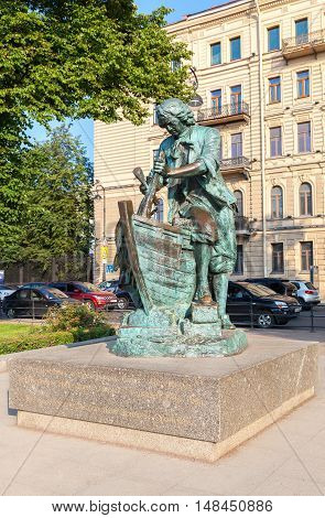 ST. PETERSBURG RUSSIA - JULY 27 2016: Monument to Peter the Great named King carpenter - the gift to city from the Kingdom of Netherlands. St. Petersburg landmark Russia