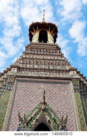 Ancient pagoda (17th Century) at Wat Phra Kaew in Bangkok Thailand