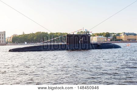 ST. PETERSBURG RUSSIA - JULY 31 2016: A submarine
