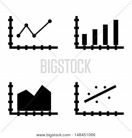 Set Of Statistics Icons On Pointed Line Chart, Bar Chart, Area Chart And More. Premium Quality Eps10
