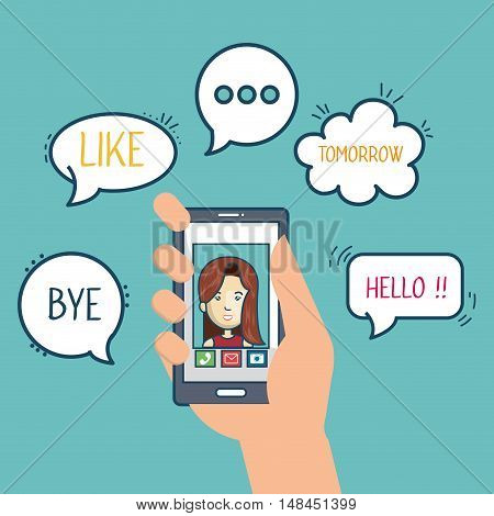 cartoon smartphone hand hold mobile chat graphic vector illustration eps 10