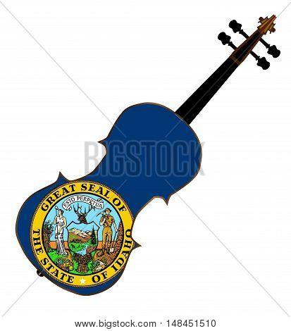 A typical violin with Idaho state flag isolated over a white background