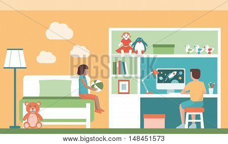 Children playing in their bedroom a girl is holding a ball and a boy is playing with his computer
