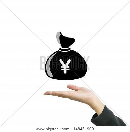 Closeup a money bag in yen currency on working woman hand isolated on white background in business concept with clipping path