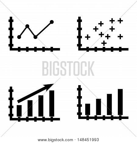 Set Of Statistics Icons On Pointed Line Chart, Statistics Growth, Plotter Point Chart And More. Prem