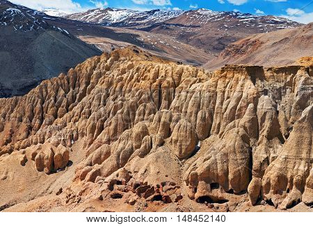 Khyunglun caves in the Garuda Valley Tibet Autonomous region. Khyunglung is an amazing complex of caves set in the hills on the north bank of the Sutlej River in the Chinese prefecture of Ngari Tibet