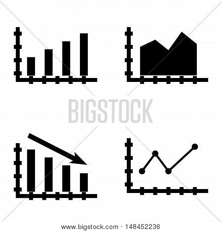 Set Of Statistics Icons On Statistics Down, Pointed Line Chart, Bar Chart And More. Premium Quality