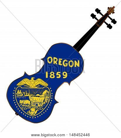 A typical violin with Oregon state flag isolated over a white background