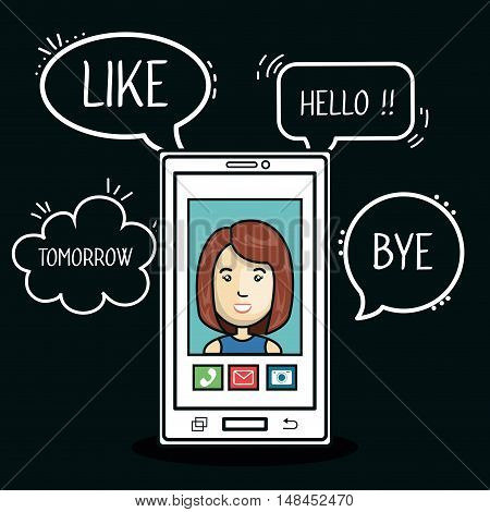 cartoon smartphone woman mobile chat graphic vector illustration eps 10