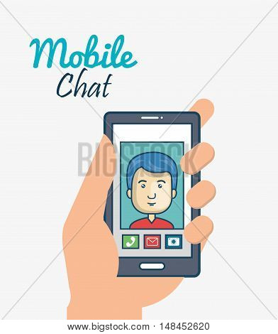 cartoon smartphone hand holding man mobile chat graphic vector illustration eps 10