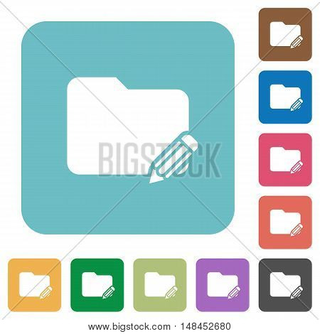 Flat edit folder icons on rounded square color backgrounds.