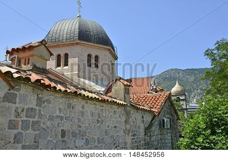 A back view of the Russian Orthodox Church of Saint Nicholas in Kotor Montenegro.