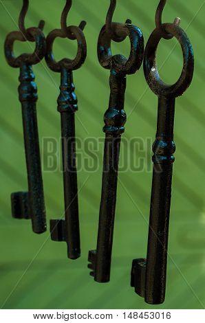 Old keys hung on hooks close up