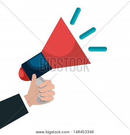 cartoon hand megaphone news graphic vector illustration eps 10