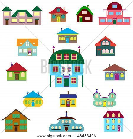 House cartoon set - colourful home icon collection. Vector illustration group. Private residential architecture in different stylescartoon