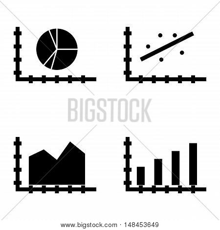 Set Of Statistics Icons On Scatter Chart, Bar Chart, Area Chart And More. Premium Quality Eps10 Vect