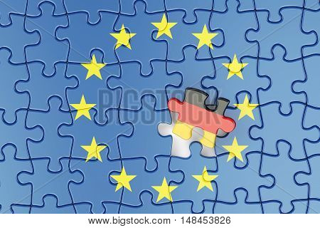 Germany and EU puzzles from flags relation concept. 3d rendering