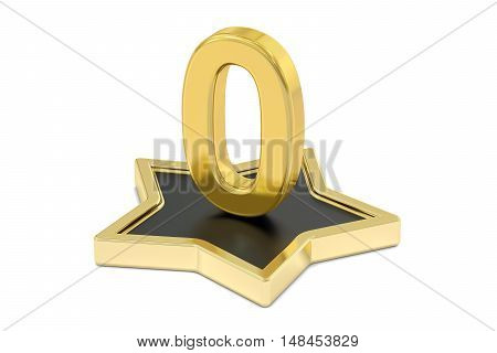 3D golden number 0 on star podium 3D rendering isolated on white background