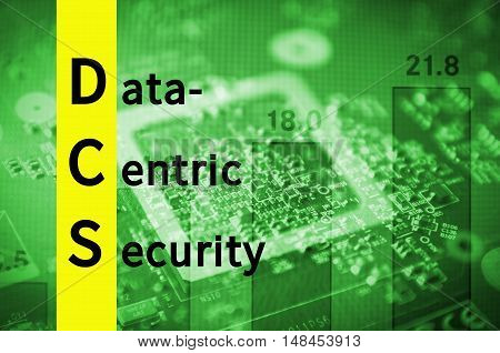 Acronym DCS as Data-centric security. Abstract illustration.