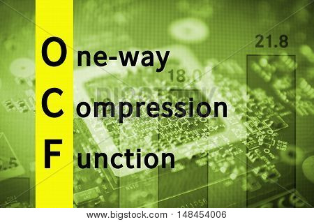 Acronym OwCF as One-way compression function. Abstract illustration.