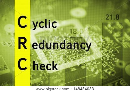 Acronym CRC as Cyclic redundancy check. Abstract illustration.