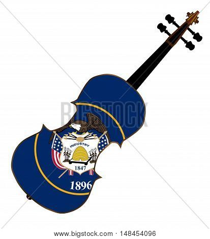 A typical violin with Utah state flag isolated over a white background