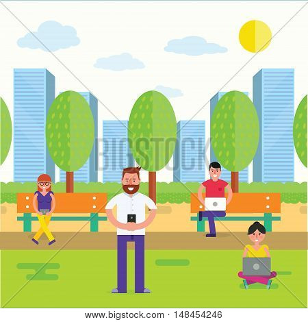 Various people using gadgets with wireless internet outdoor. Man and woman with smartphone or cell phone laptop tablet in park as online communication concept. Vector illustration