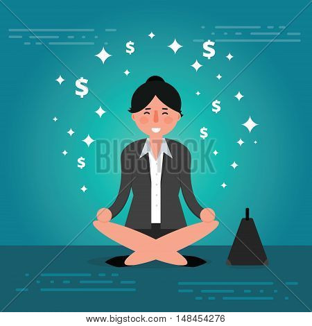 Successful young business woman or broker meditating or relaxing with his legs crossed. Cartoon vector illustration of manager or boss doing yoga in lotus pose as concept of corporate thinking. Business lady meditation image