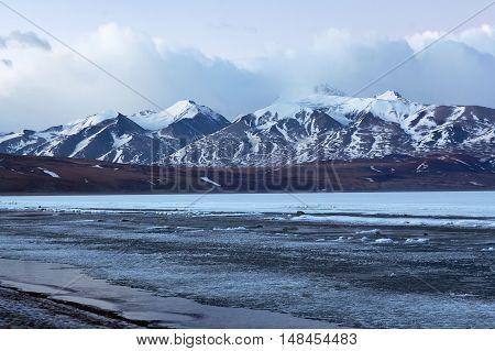 Rakshas Tal Lake Under Ice, Western Tibet