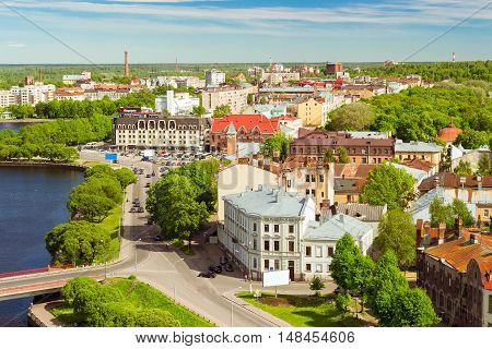 Vyborg city views horizons and Bay from height of Vyborg fortress Leningrad region Saint-Petersburg Russia. Summer Sunny day in medieval tourist town