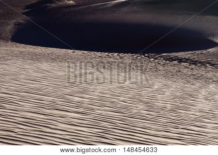 Sand dunes of cold desert abstract background