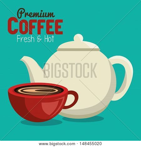 premium coffee pot and cup graphic vector illustration eps 10