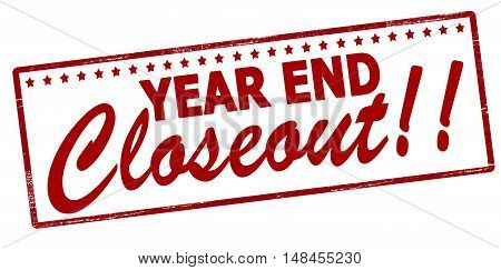 Rubber stamp with text year end closeout inside vector illustration