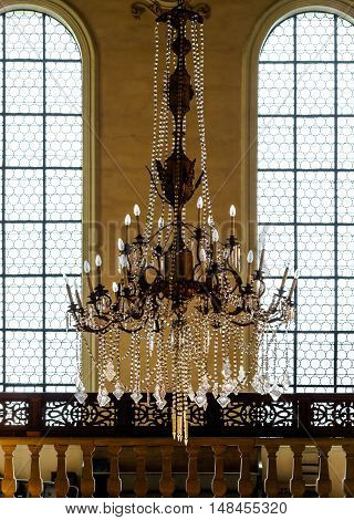 Crystal Chandelier Lighting In The Big Majestic Hall