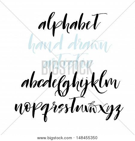 Hand drawn vector brush alphabet. Hand drawn calligraphy letters. Letters of the alphabet written with a brush. Ink illustration. Modern brush calligraphy. Isolated on white background.