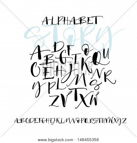 Hand drawn vector alphabet. Hand drawn calligraphy letters. Letters of the alphabet written with a brush. Ink illustration. Modern brush calligraphy. Isolated on white background.